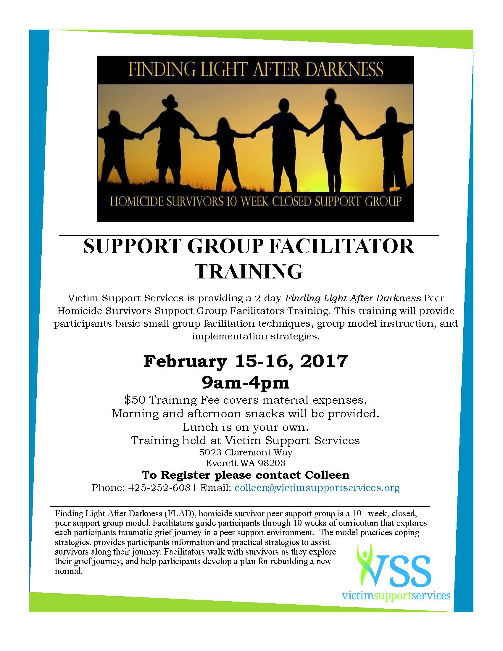 Support Group Facilitators Training Flyer February 2017